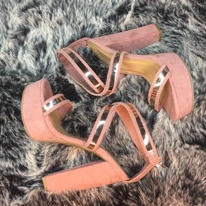 Pink and rose gold block platform heel